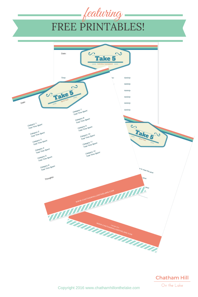 Free Printables on Goal Setting and Time Stealers www.chathamhillonthelake.com