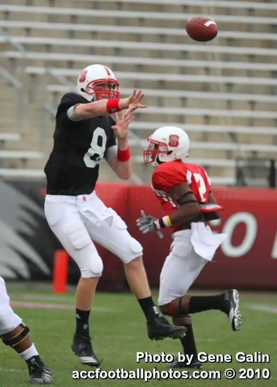 NC State quarterback Mike Glennon throws a pass.