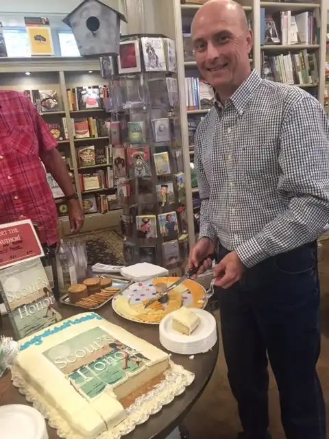 "Cake was served at the end of the ""Scout's Honor"" book launch event.photo by Gene Galin"