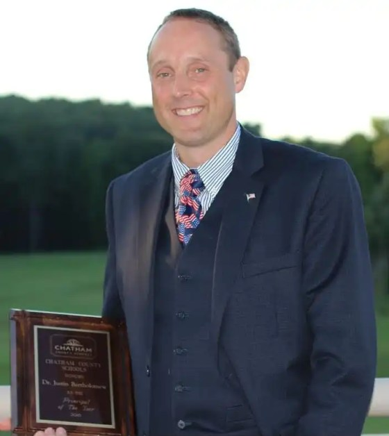 Chatham County Schools Principal of the Year, Justin Bartholomew