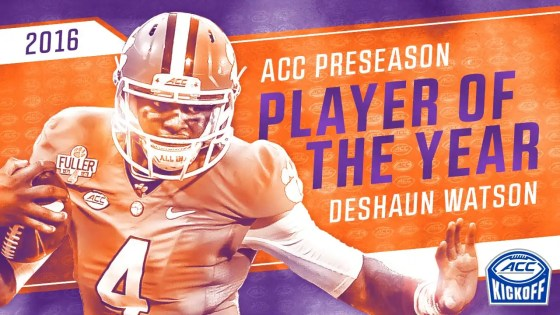 Deshaun Watson 2016 Pre-Season ACC Player of the year