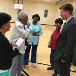 Peyton Holland speaks to Moncure residents