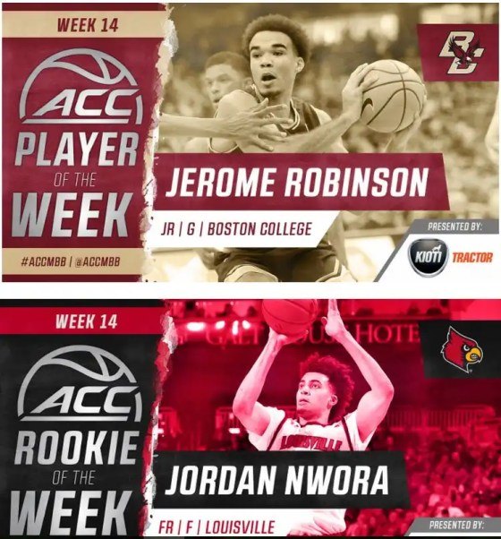 Boston College Robinson, Louisville Nwora recognized