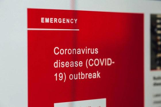 coronavirus news on screen