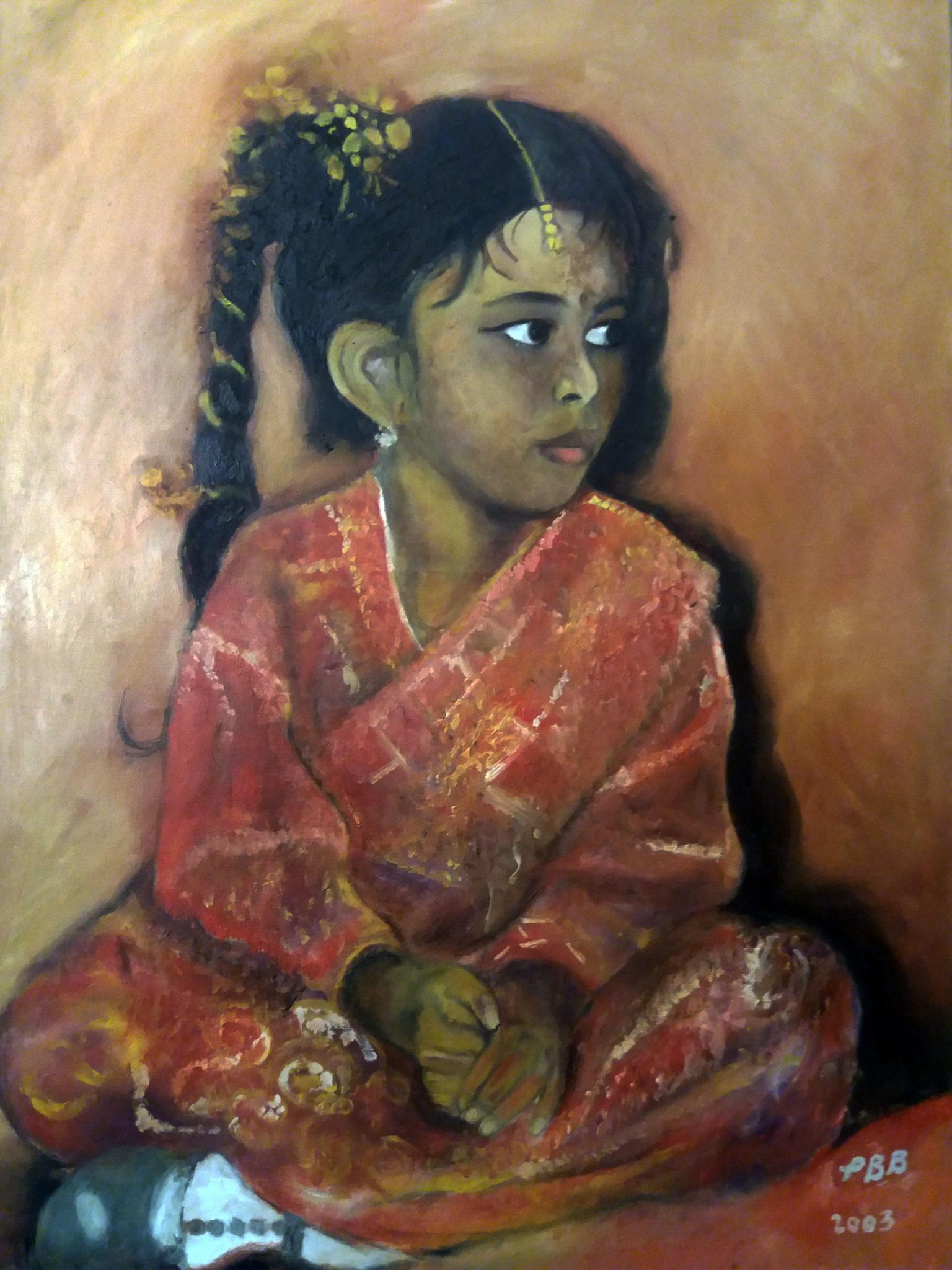 jeune fille indienne - huile sur toile