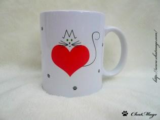 Mug chat, cat mug, ChatMage, mug, coeur, heart, red heart, coeur rouge, mug personnalisable