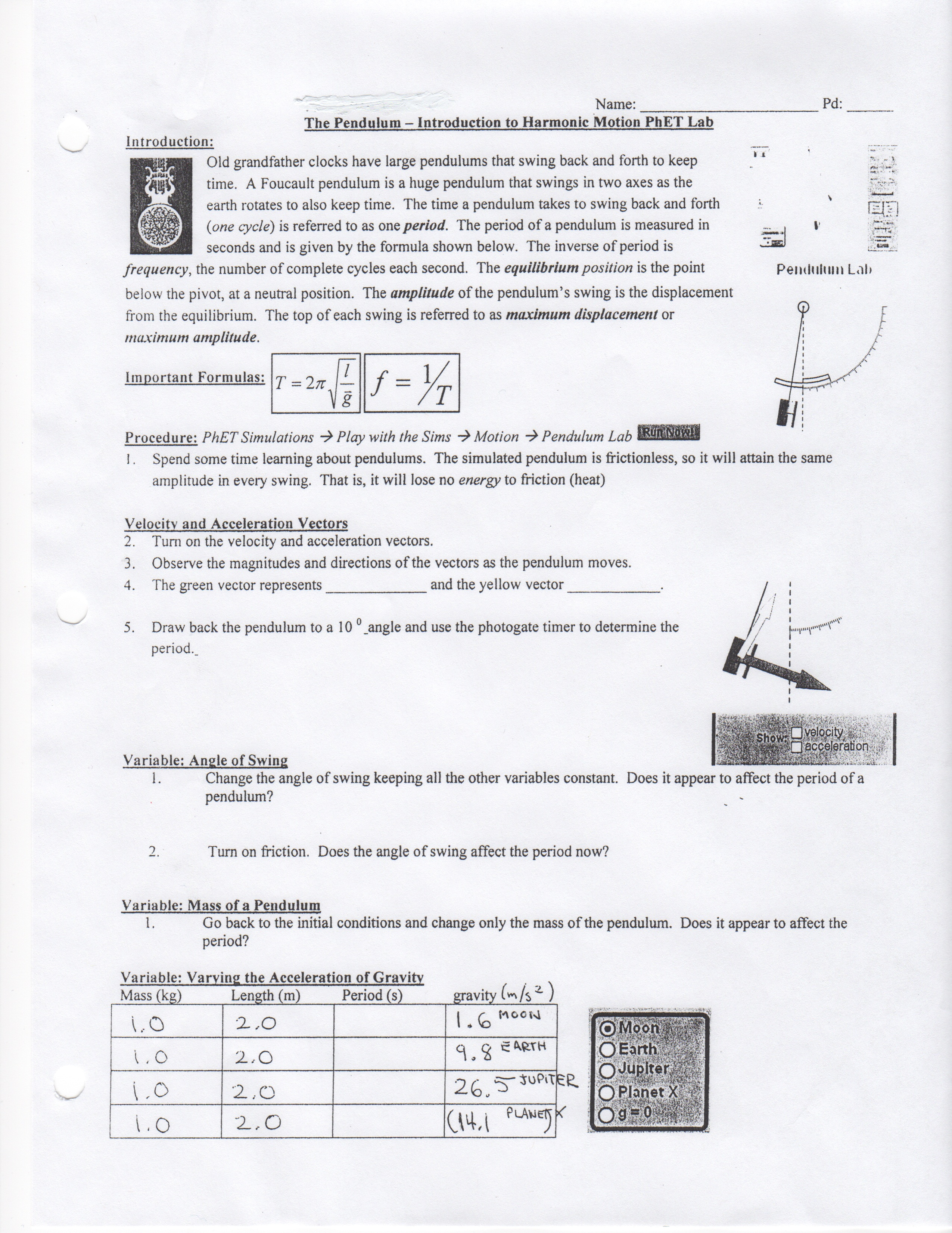 Law Of Universal Gravitation Worksheet