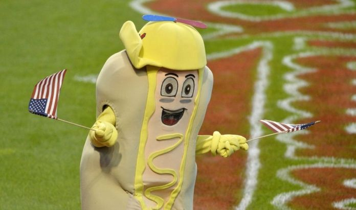 Jul 6, 2015; Cleveland, OH, USA; Cleveland Indians mustard mascot performs between innings in a game against the Houston Astros at Progressive Field. Mandatory Credit: David Richard-USA TODAY Sports