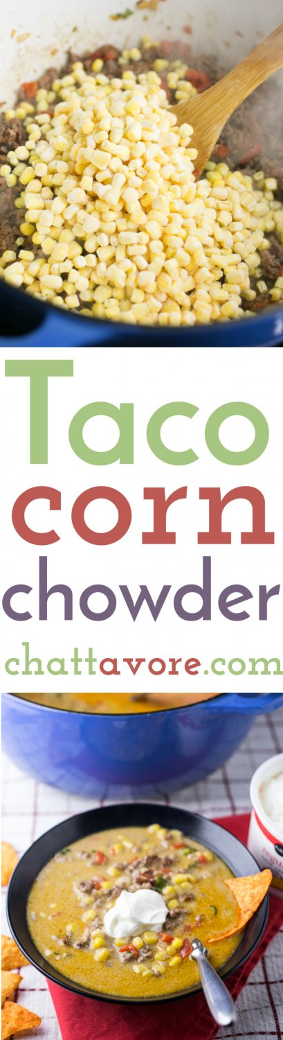 Taco corn chowder with cheese is a simple and delicious one-pot weeknight dinner. It's perfect for a cool Fall night, and it's a great Thermos lunch! | recipe from Chattavore.com