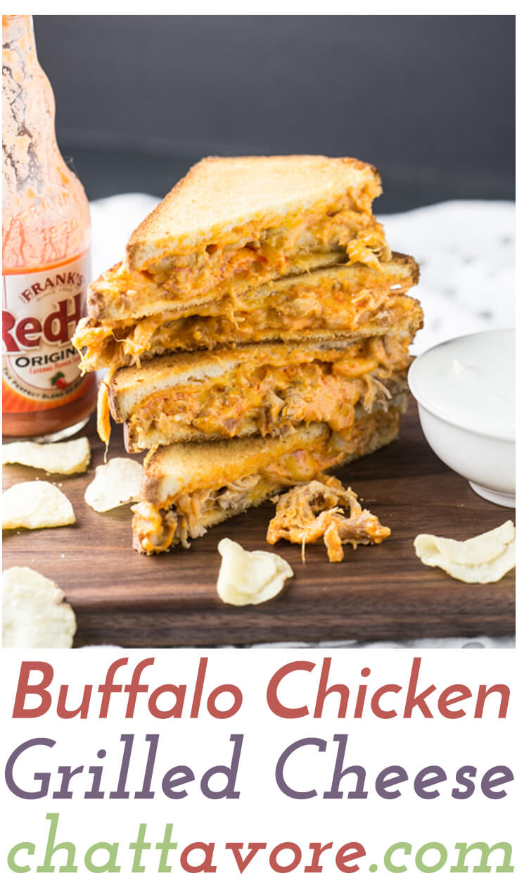 This Buffalo chicken grilled cheese is easy, delicious, and just a little bit indulgent. It's a great simple weeknight dinner! | recipe from Chattavore.com
