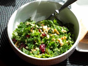 Kale Salad with Dried Cranberries, Pecans, and Sunflower Seeds