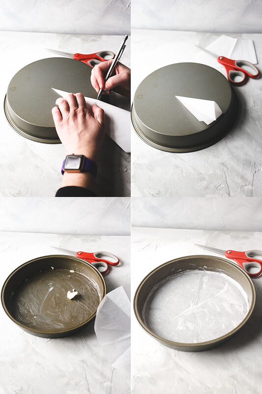 a photo collage showing parchment paper being cut and used to line a round cake pan for baking