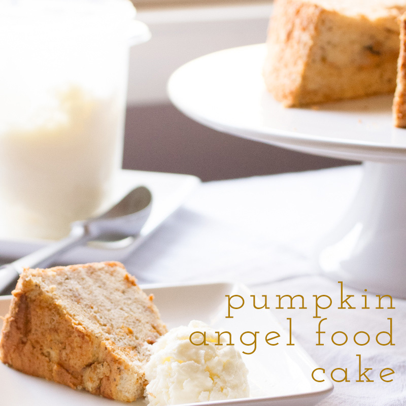 a photograph of a slice of pumpkin angel food cake from scratch on a plate with a scoop of ice cream and a pumpkin angel food cake in the background