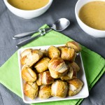Beer-Cheese Soup and Rosemary-Parmesan Pretzel Bites
