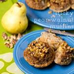 Sticky Pear and Walnut Muffins