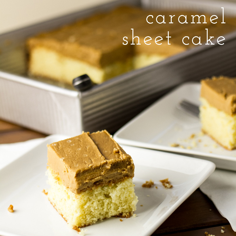 a photograph of a slice of caramel sheet cake with a pan of cake in the background
