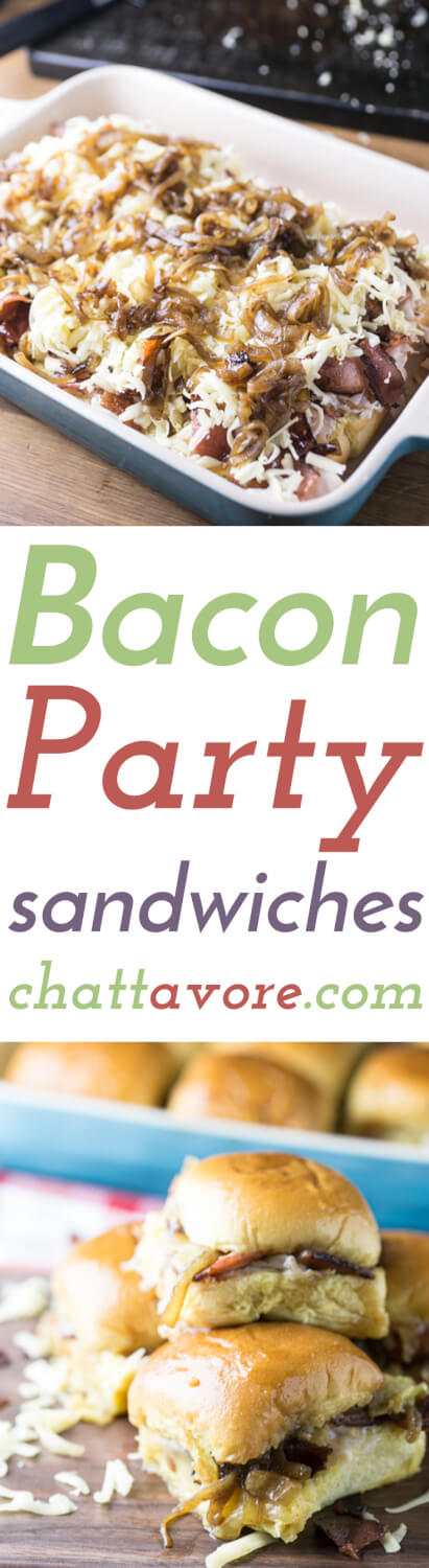 Tiny party sandwiches with bacon, melted cheese, caramelized onions, and a buttery sauce will make all your guests smile-if you choose to share. | Recipe from Chattavore.com