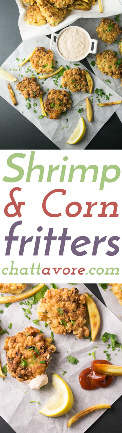Shrimp and corn fritters are like a delicious hush puppy stuffed with shrimp and corn. They're a great snack and a perfect dinner! | Recipe from Chattavore.com