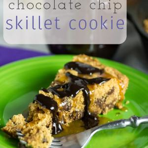 My brown butter chocolate chip skillet cookie is better than any cookie cake you can buy at the mall! It's perfect served with salted whiskey caramel and thick hot fudge sauce! | @chattavore