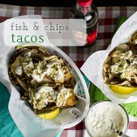 Fish & chips tacos have all the components of traditional fish & chips - battered fish, malt vinegar, and tartar sauce - all piled on a tortilla. Perfect for #TacoTuesday! | chattavore.com