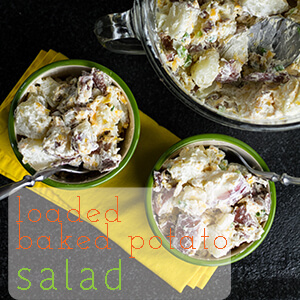 Loaded baked potato salad has all the components of a loaded baked potato (surprise!) and it's perfect for the people at your picnic who don't like traditional potato salad! | chattavore.com