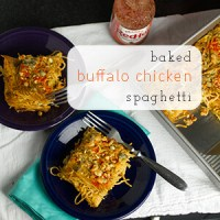 Baked Buffalo Chicken Spaghetti