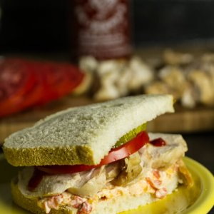"This chicken & pimento cheese sandwich is affectionately named ""The Piminnie Pearl"" (Southern lady with a kick) 