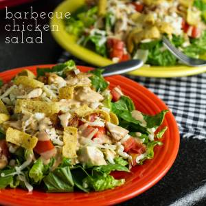This barbecue chicken salad is a simple and delicious weeknight recipe...topped with corn chips for a perfect finishing touch!   chattavore.com