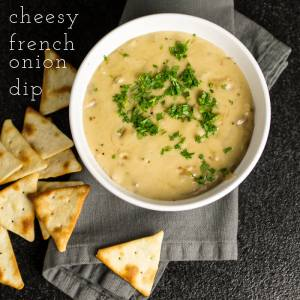 This cheesy French onion dip has all the flavors of French onion soup in dippable form! | chattavore.com