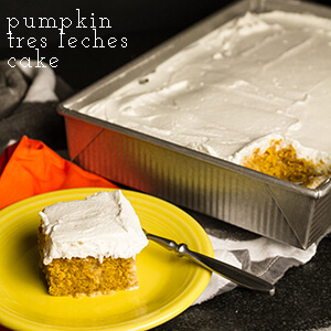 Pumpkin tres leches cake has the traditional flavors of the season-pumpkin and spices-with all the gooey goodness of a tres leches cake! | chattavore.com