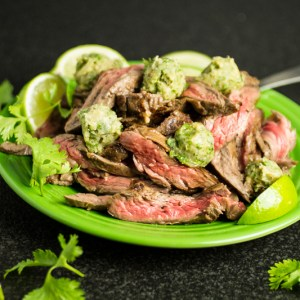 This marinated skirt steak with cilantro-lime ghee is a simple, quick weeknight dinner. And it's paleo, from the new cookbook Paleo Planet by Becky Winkler of A Calculated Whisk. | chattavore.com