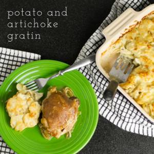 This potato and artichoke gratin is everything you'd expect from a gratin-creamy, cheesy, and soothing-with the added benefit of being artichoke-y! | chattavore.com