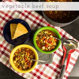 Vegetable beef soup is full of vegetables and simple to adapt into a paleo or vegetarian or vegan meal!   Recipe from Chattavore.com
