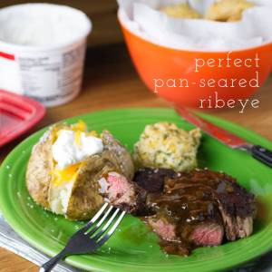 Steaks aren't exactly the easiest thing to cook, but I finally got it right with this perfect pan-seared ribeye. It's great for Valentine's Day, date night, or Tuesday night dinner!   recipe from chattavore.com
