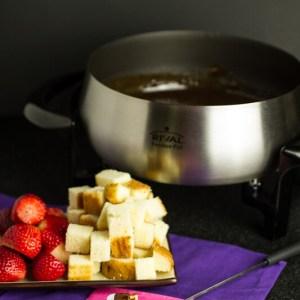 Amaretto & Toblerone fondue is pretty much chocolate heaven in a fondue pot..rich creamy, and full of almond flavor!   recipe from chattavore.com