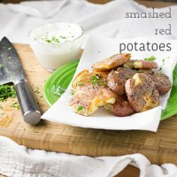 Smashed Red Potatoes with Feta Crema