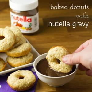 Yep, you read that right - baked donuts with NUTELLA chocolate gravy. Chocolate gravy is a Southern classic and it's great with donuts! | recipe from Chattavore.com