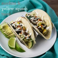 Zucchini and yellow squash tacos with mushrooms not only give you an easy and delicious way to use up your bounty of squash, they're quick and filling!   recipe from Chattavore.com