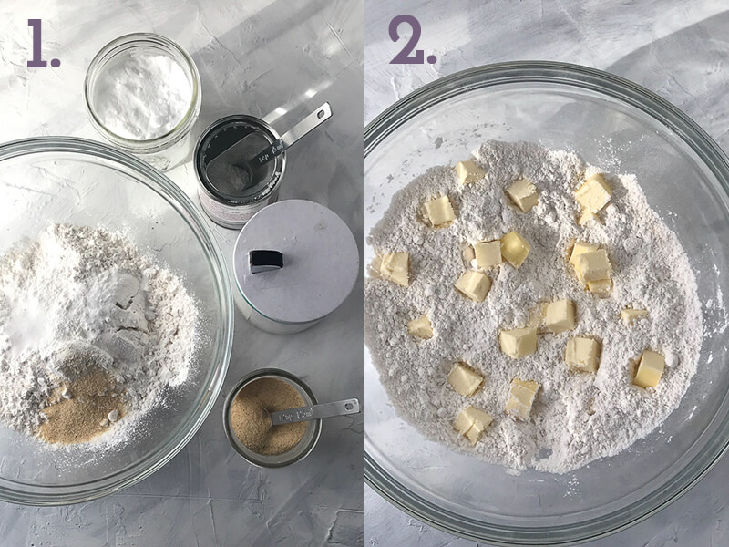 a photo collage showing dry ingredients for garlic cheddar biscuits and butter in a bowl