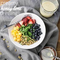 This honey lime dressing is sweet and creamy with a spicy hit of ginger (completely optional!). It's perfect for your summer (or winter) salads! | recipe from Chattavore.com