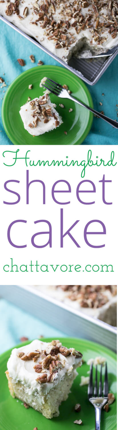 Hummingbird sheet cake transforms a slightly fussy classic Southern cake into something easy and portable yet still SO delicious - and pretty.   recipe from Chattavore.com