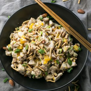 Sesame chicken salad has a sweet, creamy honey-sesame dressing, crunchy almonds, and sweet Mandarin oranges. It's a delicious way to do chicken salad! | recipe from Chattavore.com