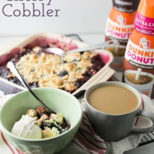 My easy cherry cobbler is super-simple...it's mixed in a single bowl, contains just a few ingredients, and you can have it in the oven in under 20 minutes! #DunkinCreamers #CollectiveBias #Ad | Recipe from Chattavore.com