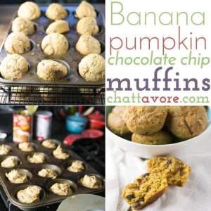 Banana Pumpkin Chocolate Chip Muffins