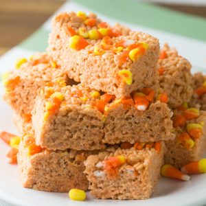 Do you love candy corn or love to hate it? If it's your favorite, candy corn Rice Krispies treats will top your list of favorite treats this Halloween! | Recipe from Chattavore.com