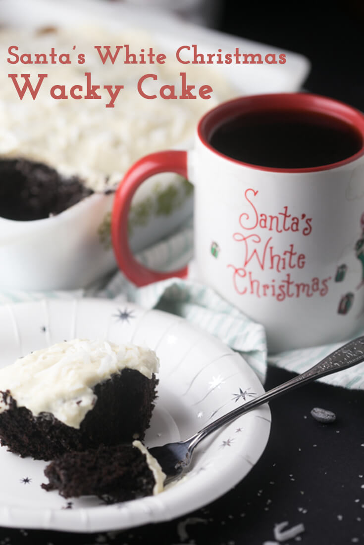Santa's White Christmas Wacky Cake is super-easy-mixed in one pan-and so delicious with coconut, caramel, and vanilla flavors! #SantasWhiteChristmas #IC #ad #ShowUsYourSanta #cake #holidaybaking | Recipe from Chattavore.com