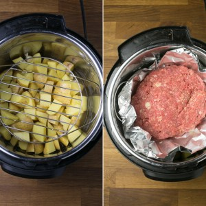 An overhead shot of an Instant Pot with chopped potatoes and an Instant Pot with a meatloaf in foil