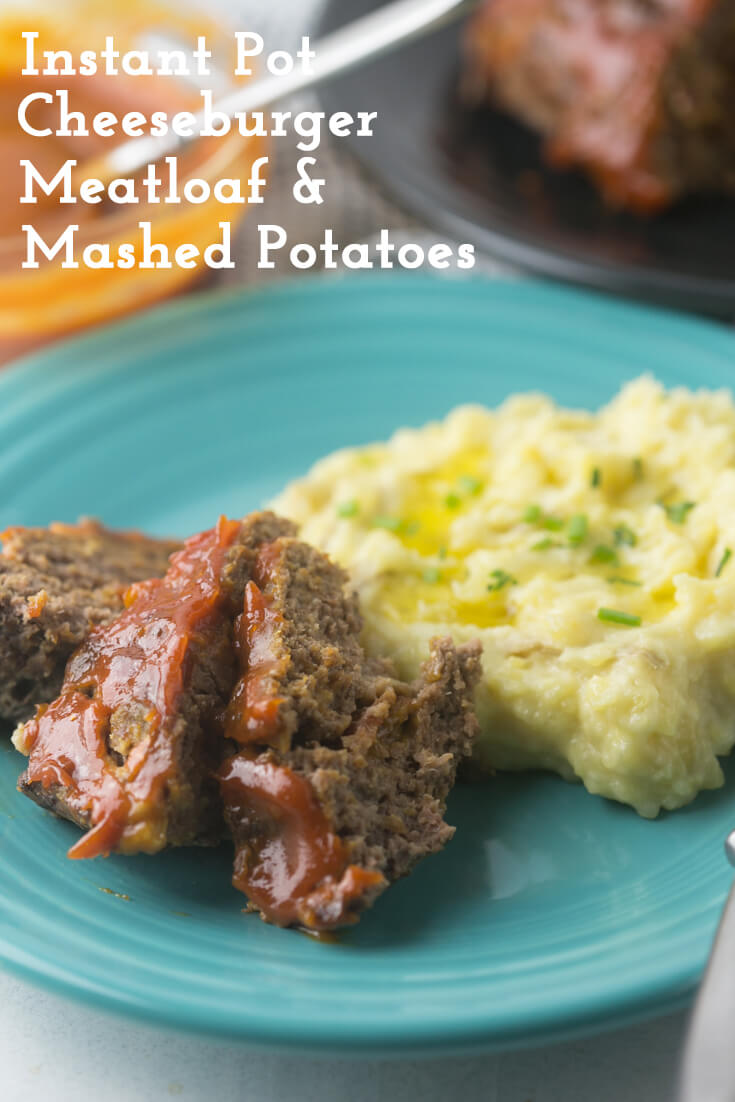 When you make this cheeseburger meatloaf and mashed potatoes in the Instant Pot, your dinner will be transformed into something that's not just hands-off and super-easy, but also SO delicious! #InstantPot #meatloaf #InstantPotMeatloaf #EasyDinner | Recipe from Chattavore.com