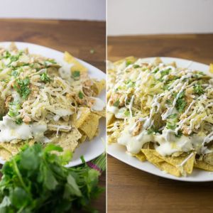 There's nothing quite a like a huge platter of cheesy nachos to satisfy everyone's tastebuds on game day! These Sriracha-ranch chicken nachos check off all of the flavor boxes! #sponsored #worldmarkettribe #gameday #nachos   Recipe from Chattavore.com
