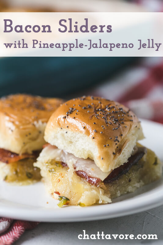 a close-up photograph of a bacon slider with pineapple-jalapeño jelly